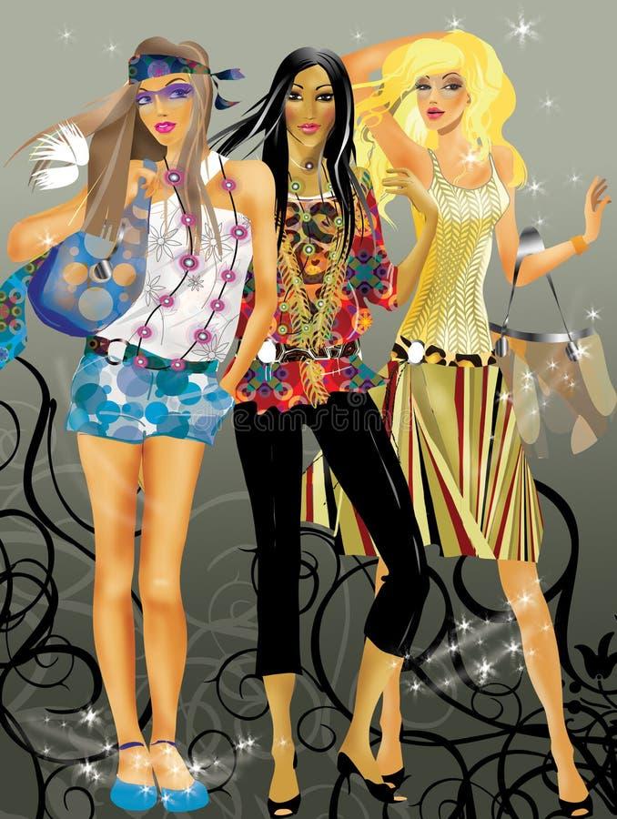 De meisjes van de manier royalty-vrije illustratie