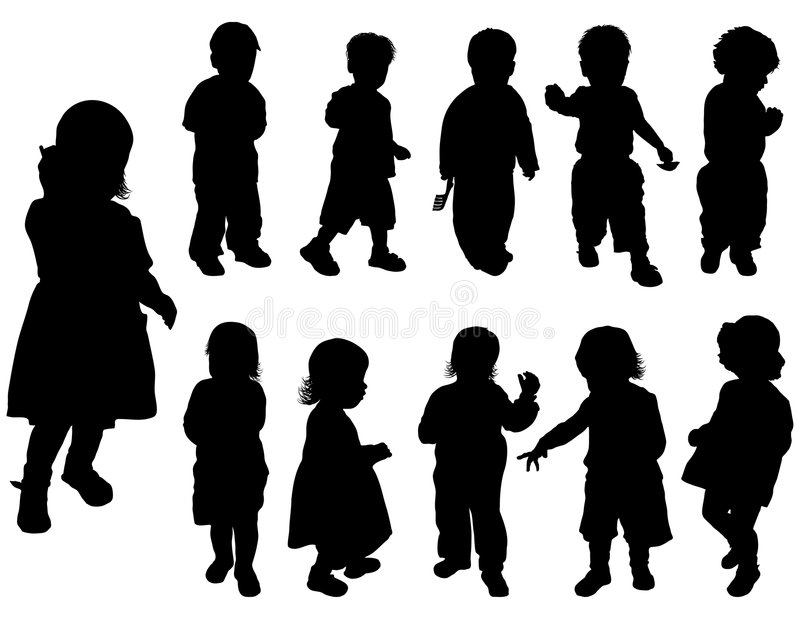 De meisjes van het silhouet en jongens, vector stock illustratie