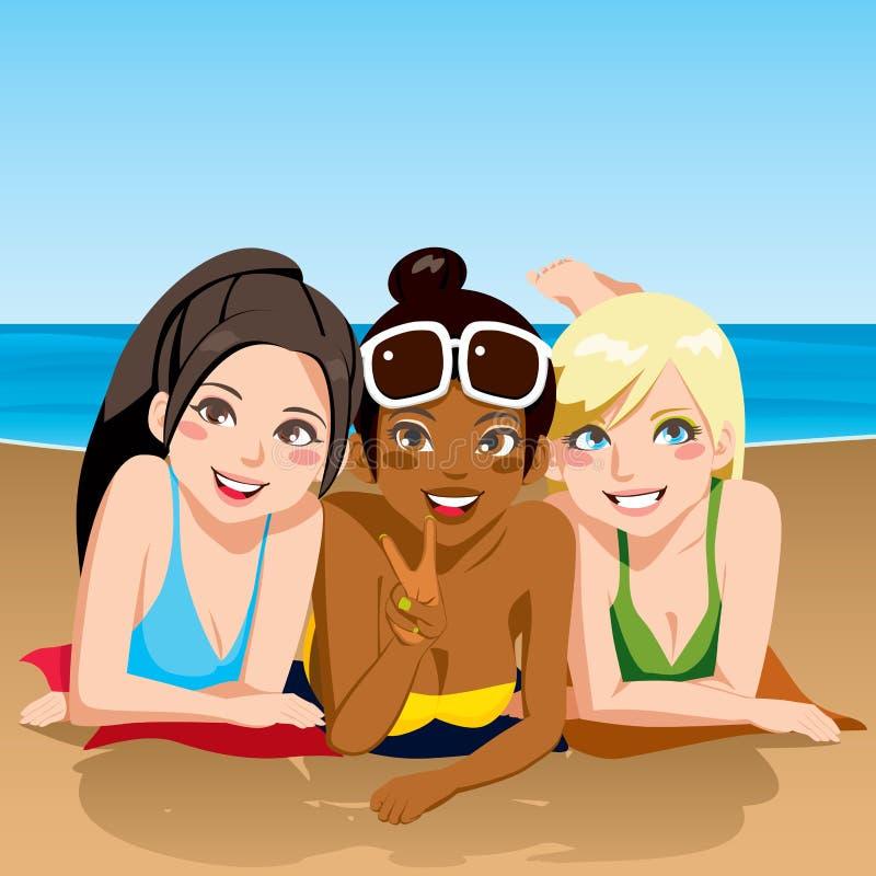 De Meisjes van het strand royalty-vrije illustratie
