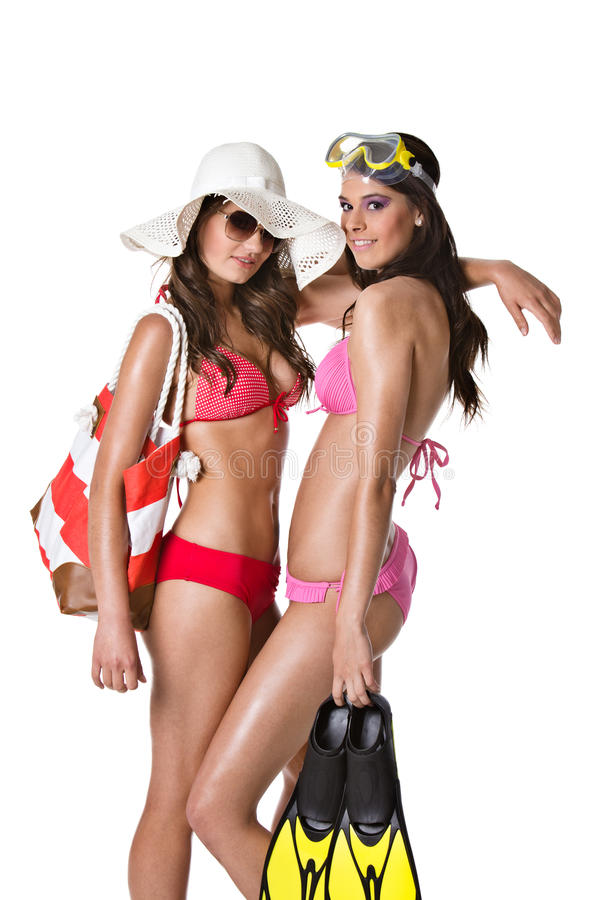 De meisjes van het strand royalty-vrije stock afbeelding