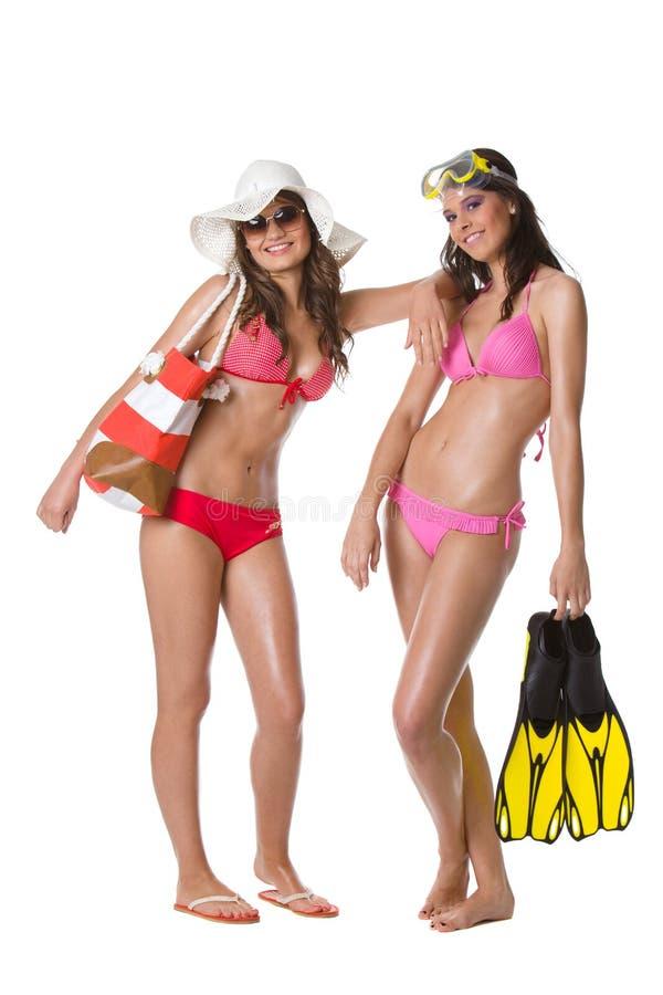 De meisjes van het strand royalty-vrije stock fotografie