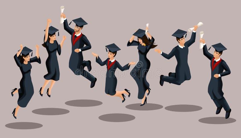 De meisjes van Isometricsgediplomeerden en de jongens, sprong, academische robes, hoeden, verheugen zich, diploma's Reeks grappig stock illustratie