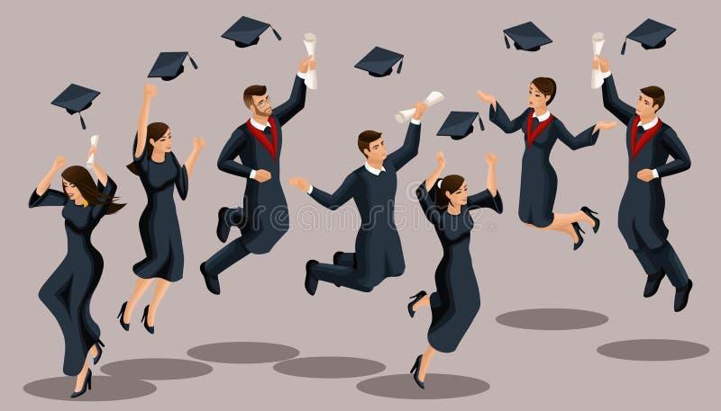 De meisjes van Isometricsgediplomeerden en de jongens, sprong, academische robes, hoeden, werpen omhoog, diploma's Reeks grappige vector illustratie