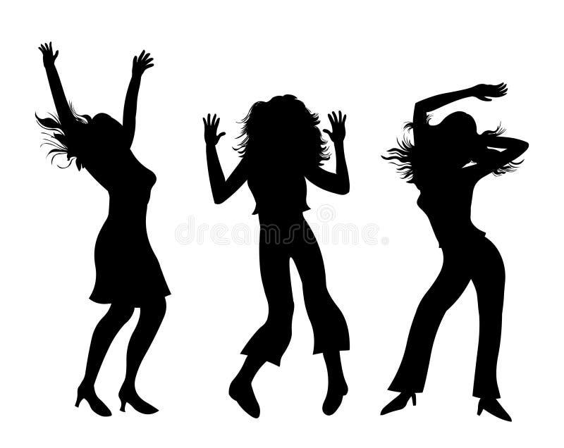 De meisjes van de partij De dansende meisjes silhouetteren illustratie vector illustratie