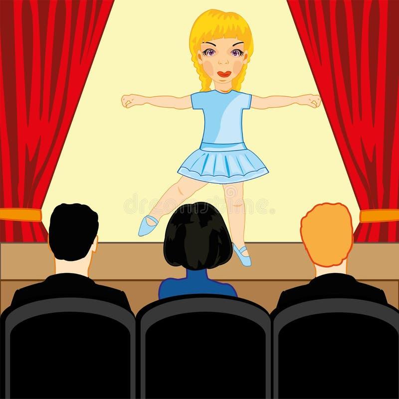 De meisjesballerina komt in gemeenschappelijk-ruimte te voorschijn vóór toeschouwer royalty-vrije illustratie