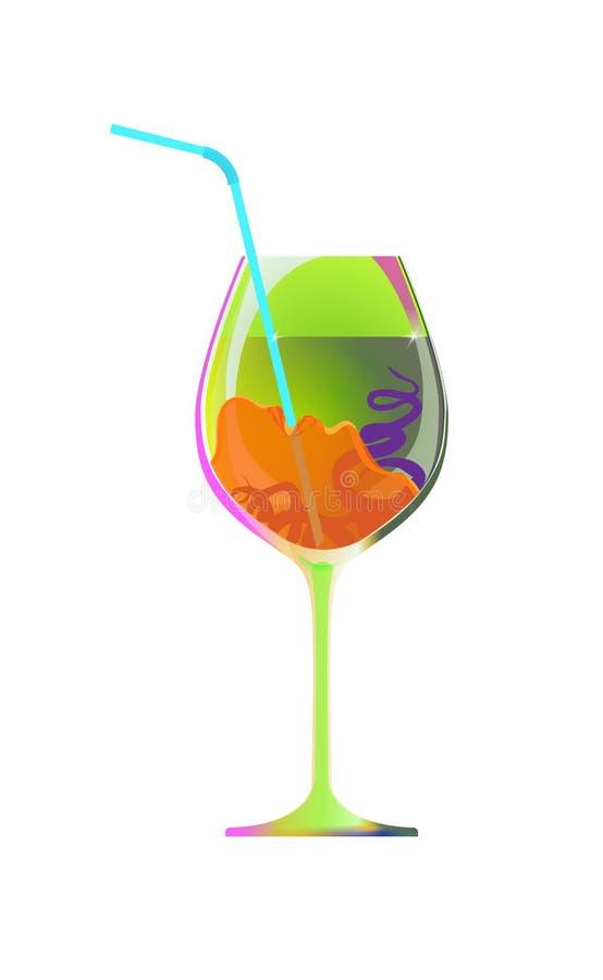De meisjesdranken door een stro van een groen glas alsemlikeur of een smoothie Beeldverhaalkarakter en drank van whit wordt geïso vector illustratie