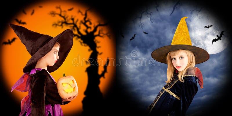 De meisjeskostuums van Halloween op twee achtergronden royalty-vrije stock foto's