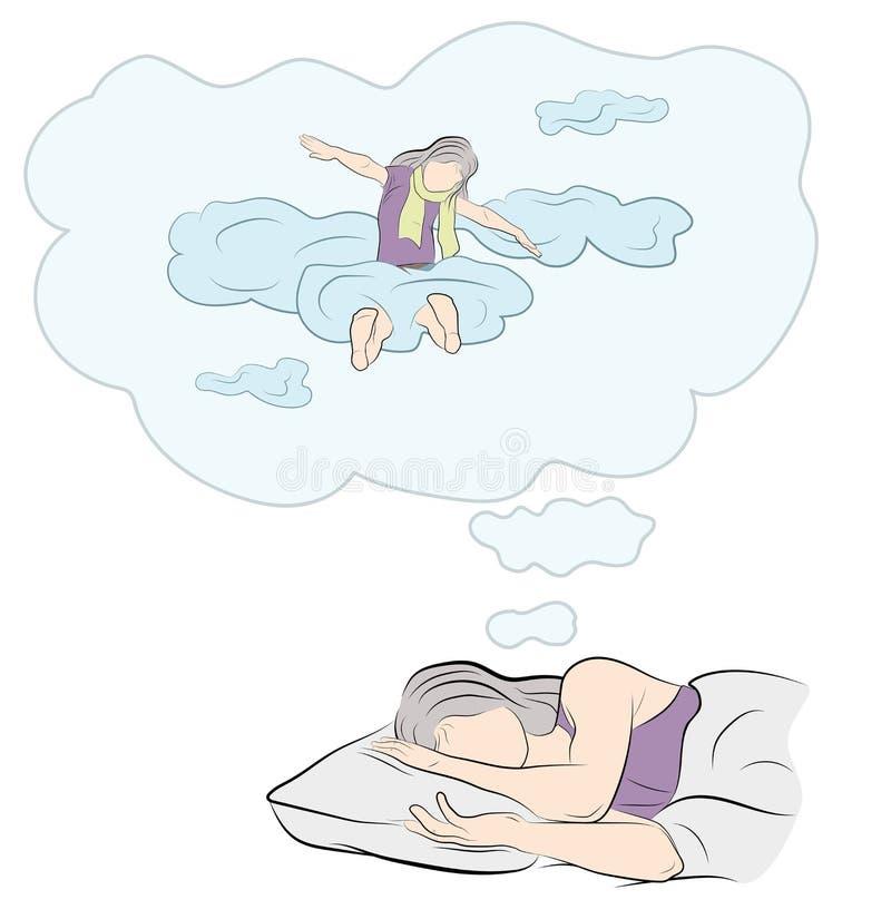 De meisjesslaap en ziet een droom aangezien zij in de wolken vliegt Vector illustratie vector illustratie