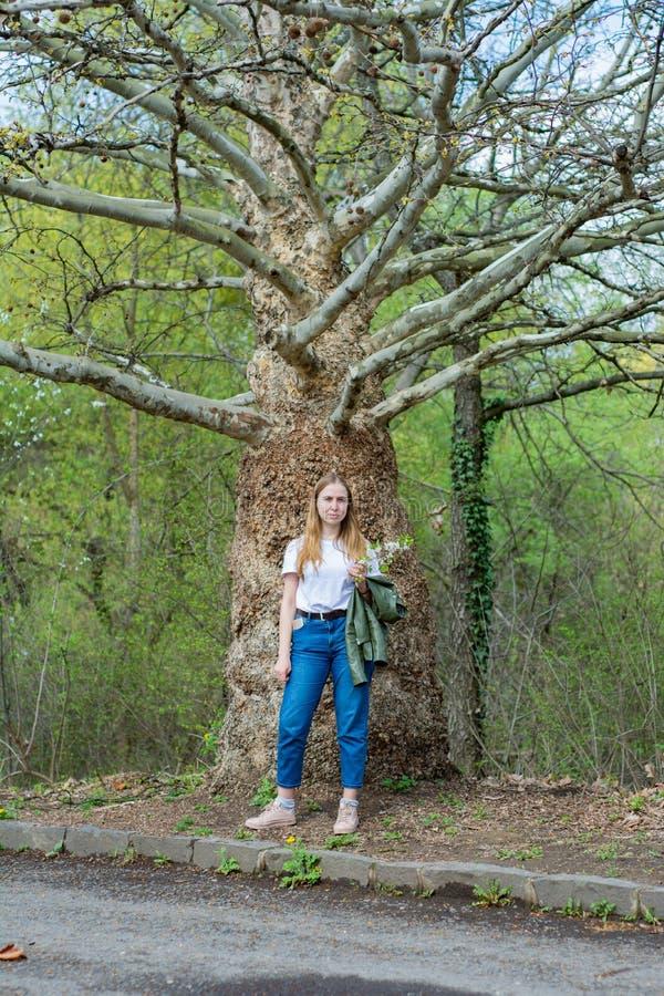 De meisjestoerist in een witte T-shirt en jeans bevindt zich dichtbij een vreemde boom royalty-vrije stock afbeeldingen