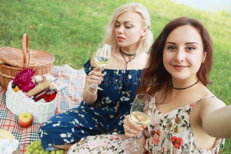 De meisjesvrienden hebben een wijn en het maken selfie stock foto's