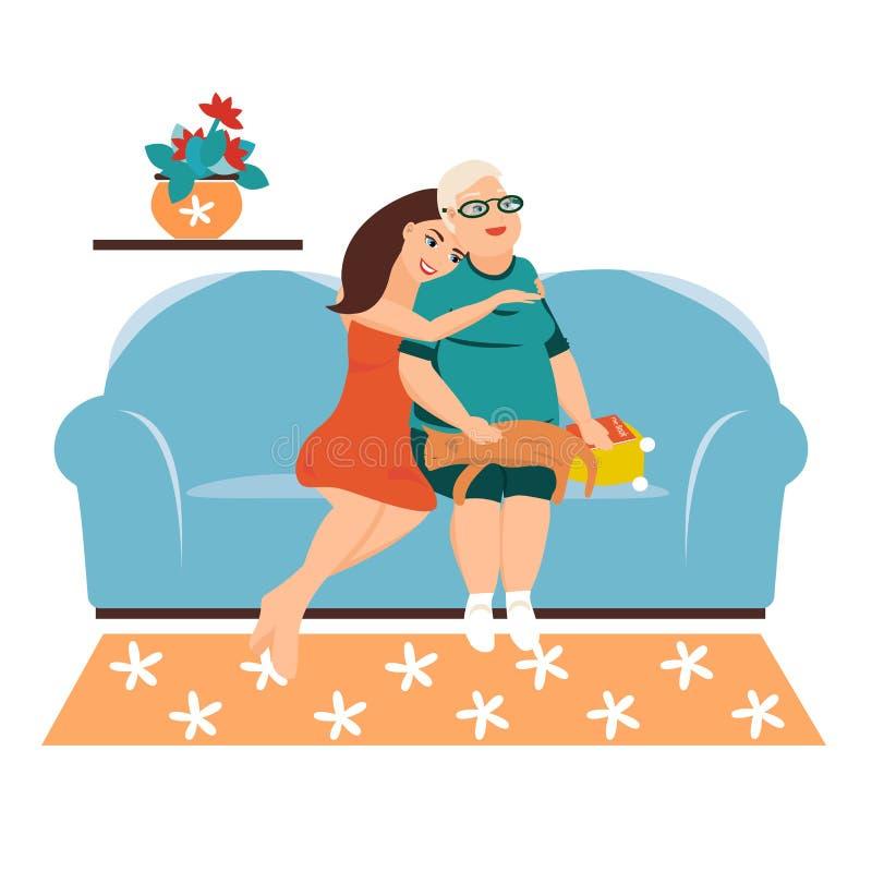 De meisjeszitting op de bank koestert zacht zijn grootmoeder, mamma, verheugt zich De vrouwen van verschillende generaties babbel royalty-vrije illustratie