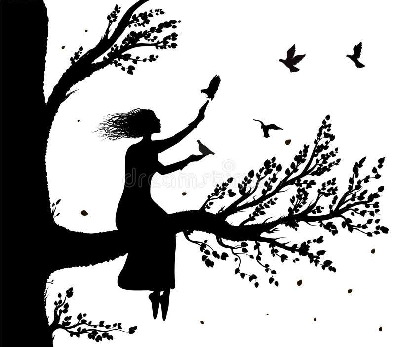 De meisjeszitting op grote boom vertakt zich een holding de duiven die aan haar, de herfstwind en vogelssilhouet vliegen, geheime stock illustratie