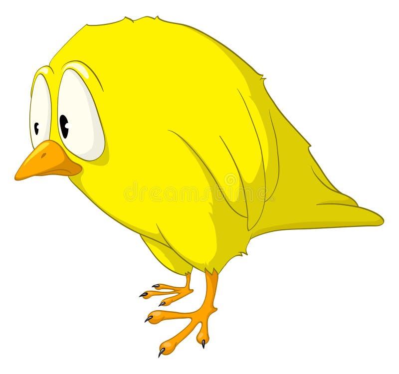 De Melancholische Vogel Van Het Karakter Van Het Beeldverhaal Royalty-vrije Stock Afbeelding
