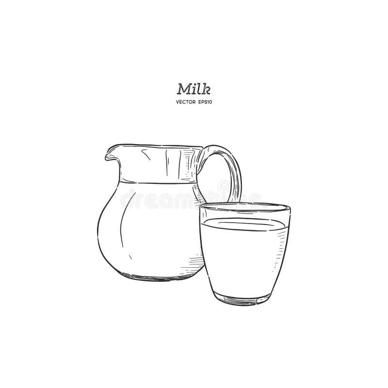 De melk, hand trekt vector royalty-vrije illustratie