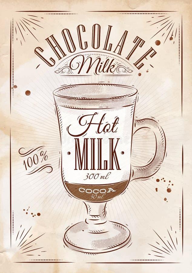 De melk van de affichechocolade kraftpapier stock illustratie
