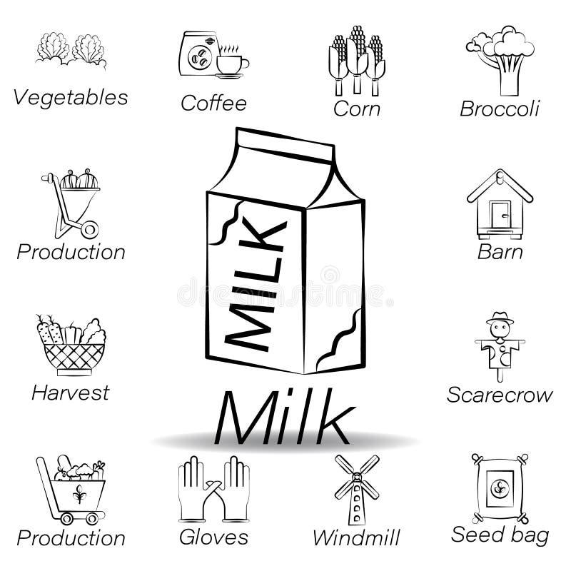 De melkhand trekt pictogram Element van de landbouw van illustratiepictogrammen De tekens en de symbolen kunnen voor Web, embleem royalty-vrije illustratie