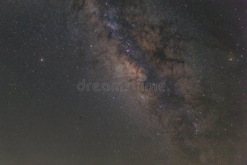 De melkwegmelkweg met sterren en het ruimtestof in het heelal, snakken stock foto's