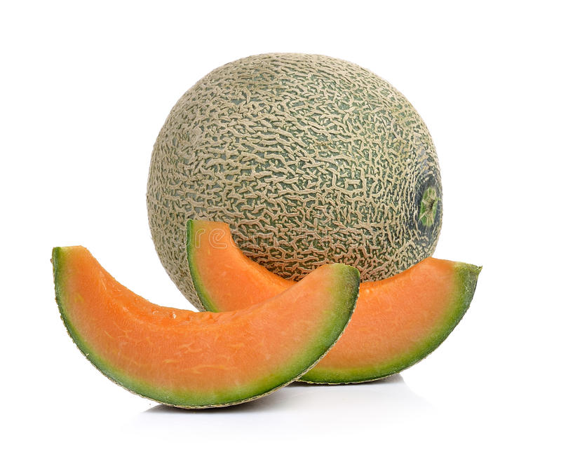 De meloen van de kantaloep die op witte achtergrond wordt geïsoleerdi royalty-vrije stock afbeeldingen