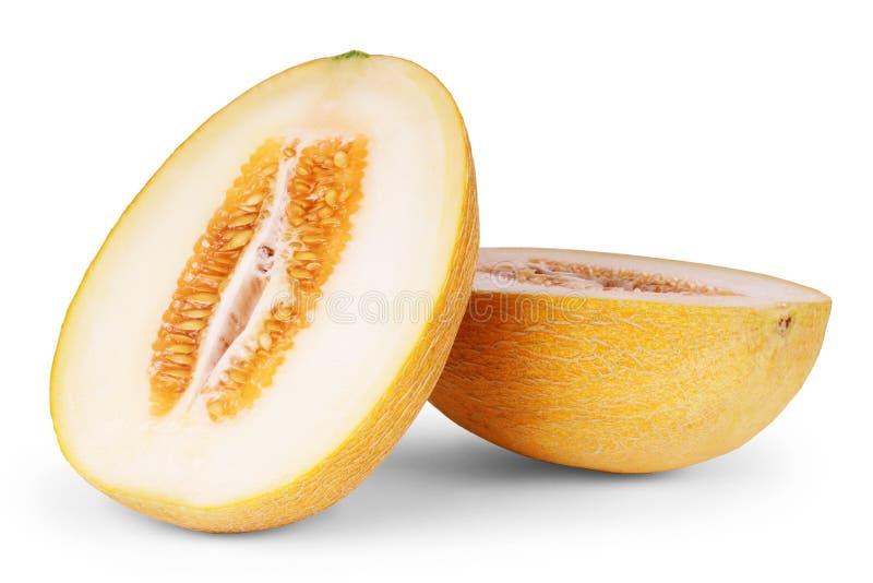 De meloen van de kantaloep die op witte achtergrond wordt geïsoleerdi stock foto