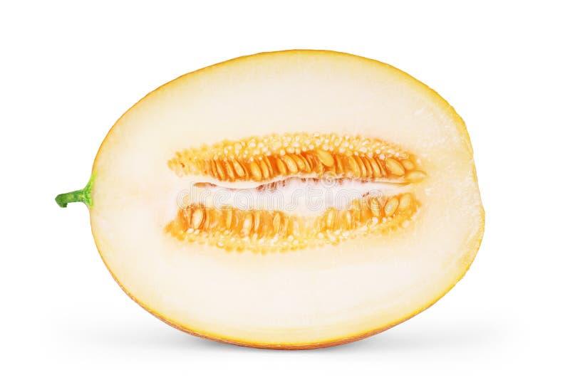 De meloen van de kantaloep die op witte achtergrond wordt geïsoleerdi stock foto's