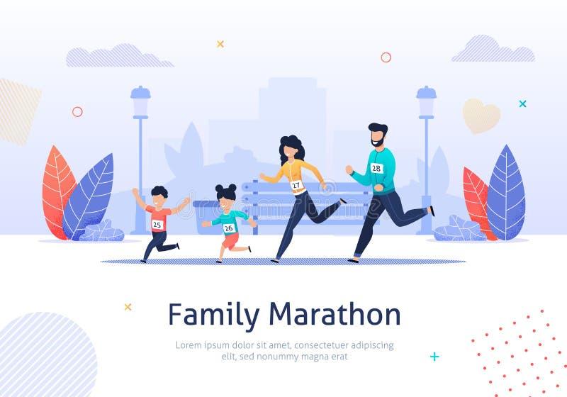 De membres de la famille de marathon bannière courante ensemble illustration stock