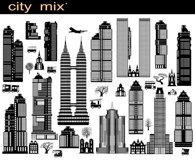 De mengeling van de stad stock illustratie