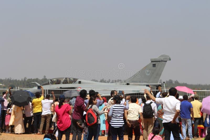 De menigte in Aero India toont 2017 royalty-vrije stock foto