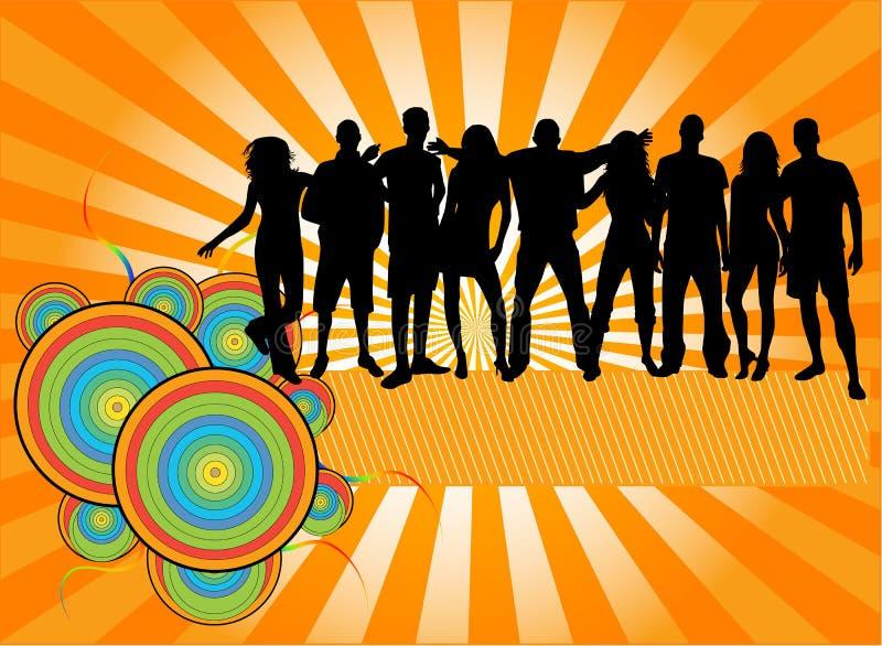 De Menigte van de partij, mensensilhouetten stock illustratie