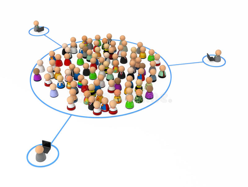 De Menigte van het beeldverhaal, de Link van de Groep vector illustratie