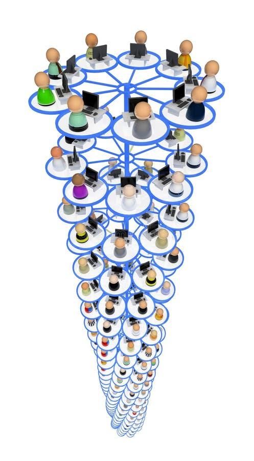 De Menigte van het beeldverhaal, de Pijler van het Netwerk stock illustratie