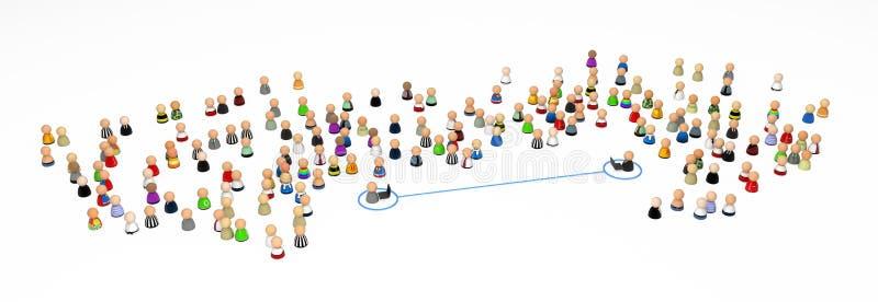 De Menigte van het beeldverhaal, Laptop Link vector illustratie