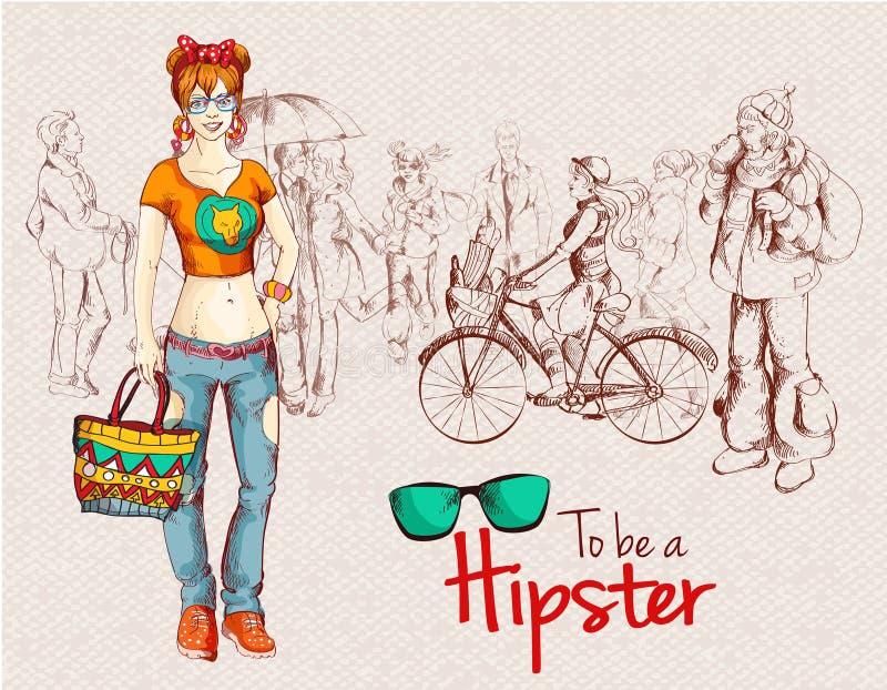 De menigte van het Hipstermeisje stock illustratie