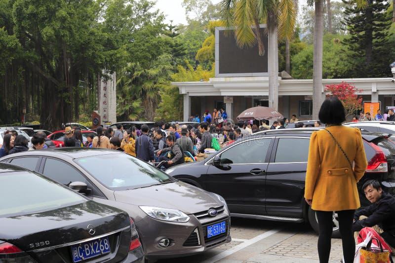 De menigten xiamen binnen botanische tuin stock foto