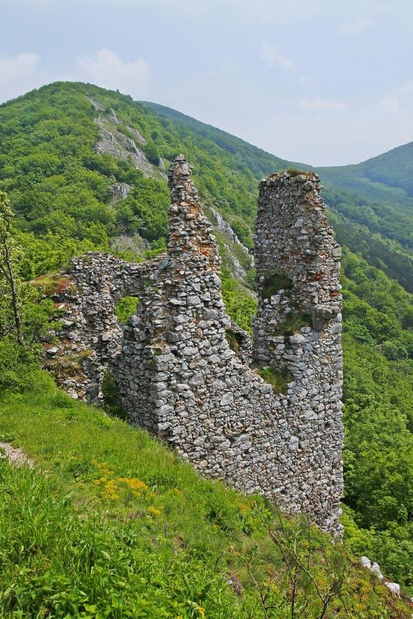 De mening over kasteel Ostry Kamen stock afbeeldingen