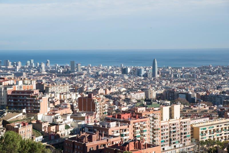 De mening van Barcelona van hierboven stock foto