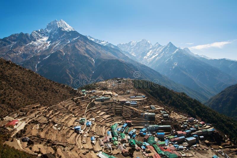 De mening van Bazar van Namche, Nepal royalty-vrije stock afbeeldingen