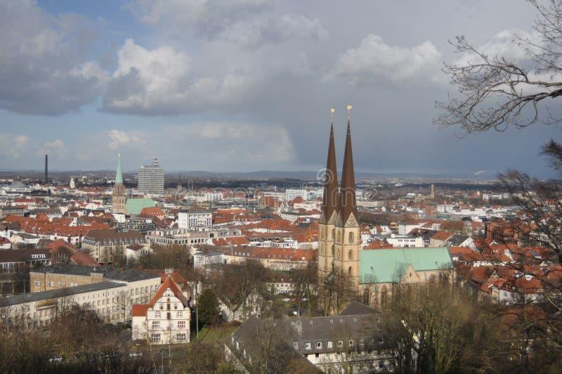 De mening van Bielefeld Duitsland van Sparrenburg stock foto's