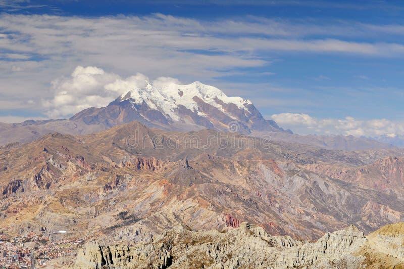 De mening van Bolivië van Cordillera Echt van La Paz stock foto's