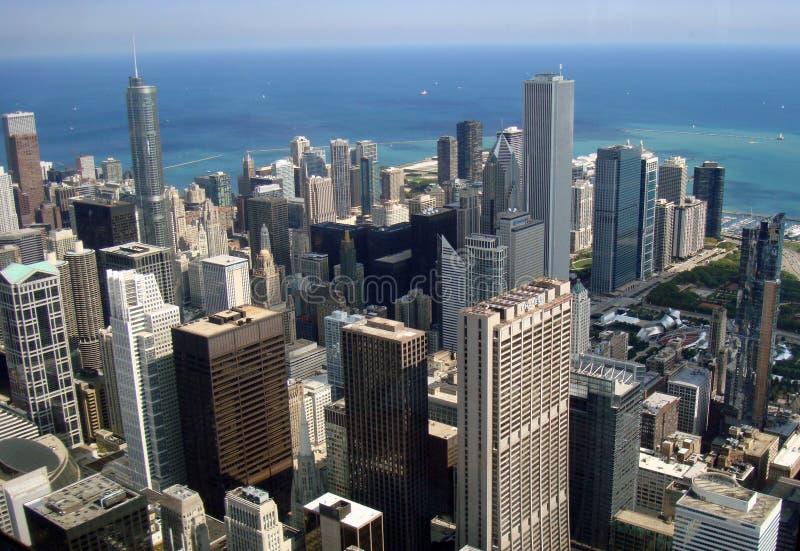 De mening van Chicago ariel met zeegezicht royalty-vrije stock afbeelding
