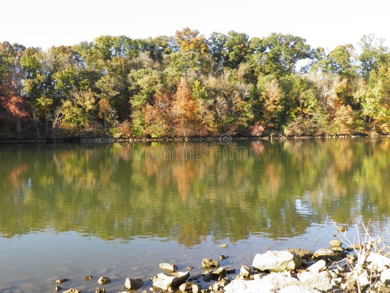 De Mening van de aardoever van het meer bij Zonsondergang stock foto's