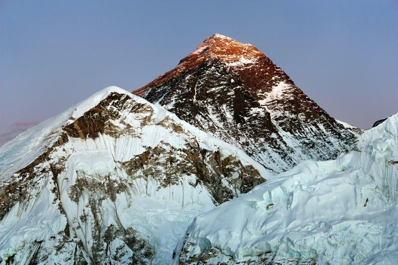 De mening van de avond van Everest royalty-vrije stock afbeelding