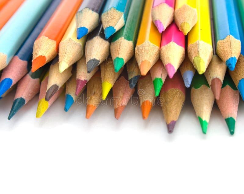 De mening van de close-up van kleurenpotloden stock afbeelding