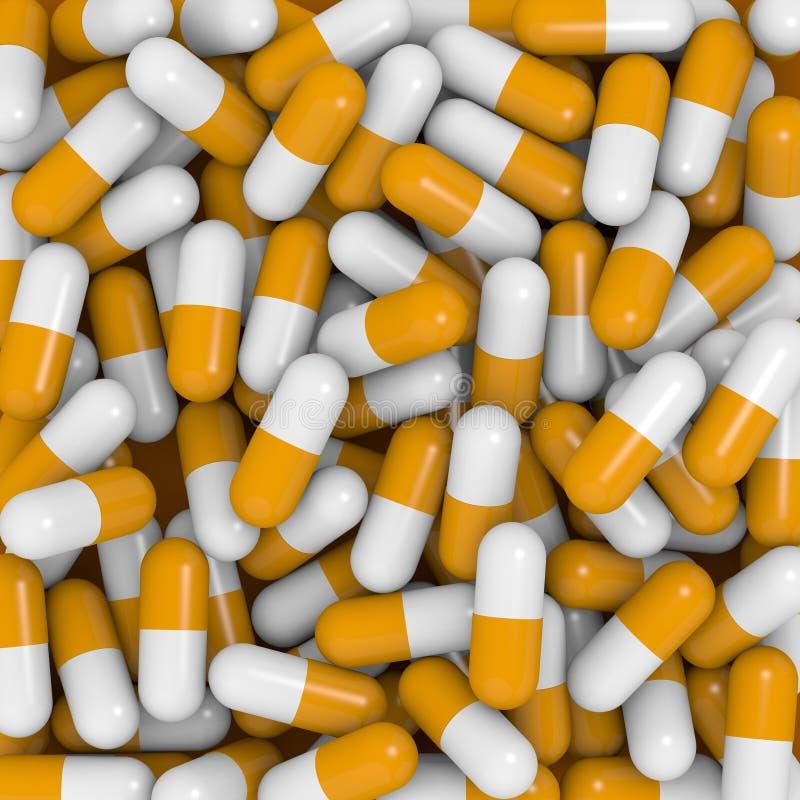 Witte en oranje capsules royalty-vrije stock afbeeldingen