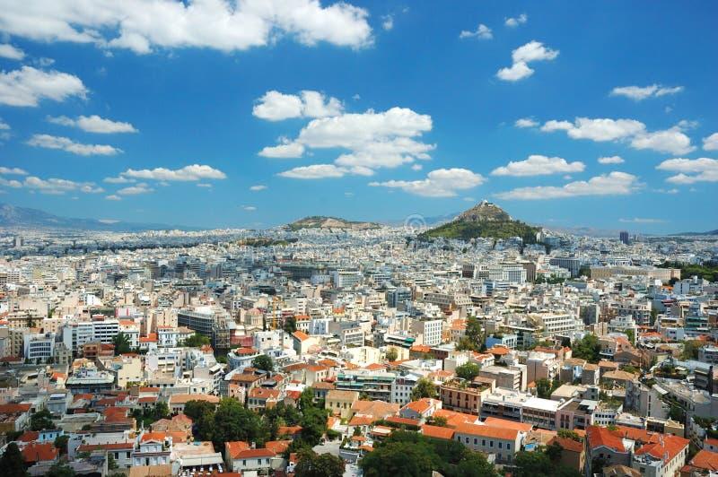 De mening van de daken van Athene en zet Lycabettus, Gr. op stock fotografie