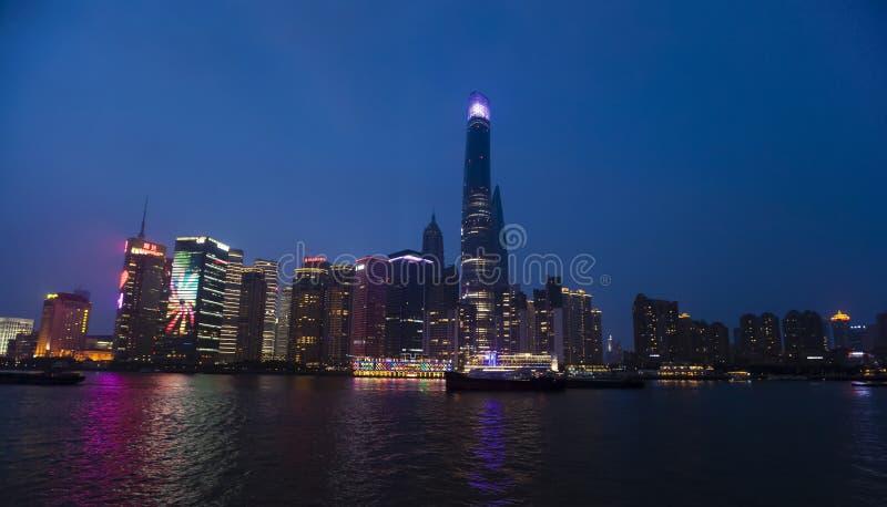 De Mening van de de Nachthorizon van Shanghai royalty-vrije stock fotografie