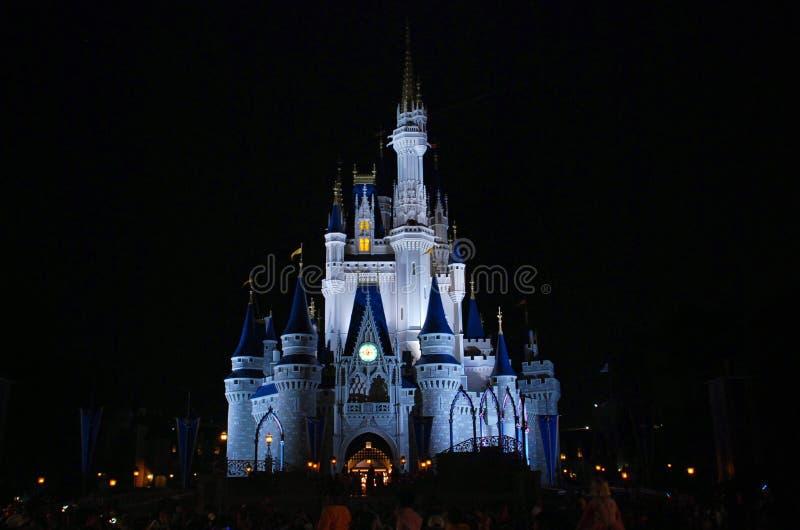 De mening van de het kasteelnacht van Cinderelladisney royalty-vrije stock foto