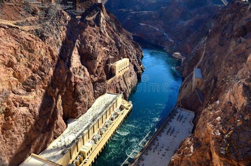 De mening van de Hooverdambrug, Las Vegas, Nevada, de V.S., Noord-Amerika stock afbeelding