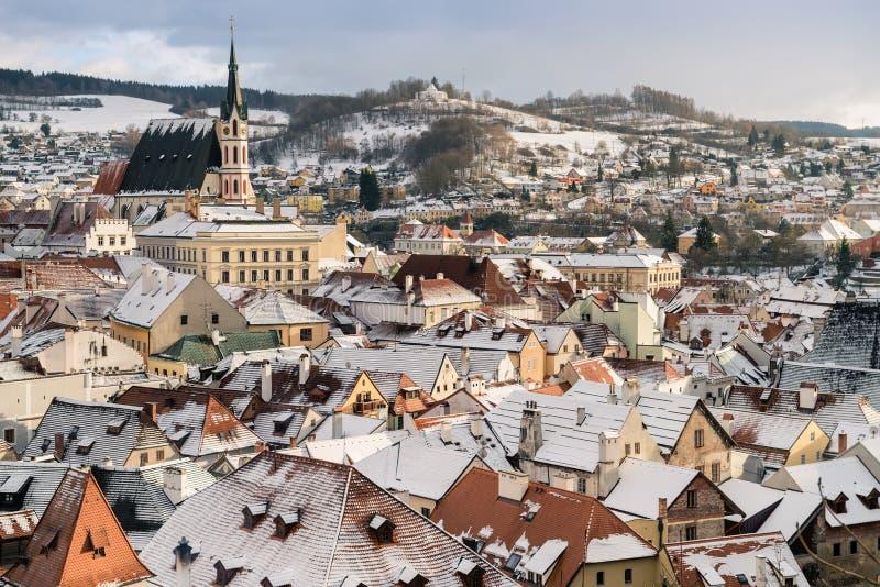 De mening van de Krumlovstad, Tsjechische republiek stock fotografie