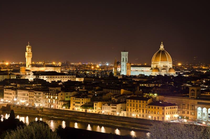 De mening van de nacht aan de horizon van Florence, Toscanië, Italië royalty-vrije stock afbeeldingen