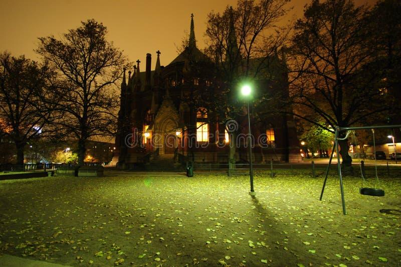 De Mening van de nacht in Helsinki stock foto's